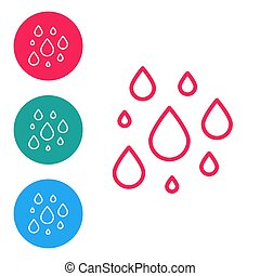 Red line Water drop icon isolated on white background. Set icons in circle buttons. Vector Illustration