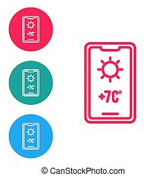 Red line Weather forecast icon isolated on white background. Set icons in circle buttons. Vector Illustration
