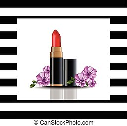 Red Lip stick mock up Vector. Cosmetics card realistic...