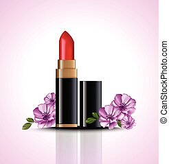 Red Lip stick mock up Vector with flowers decor. Cosmetics...