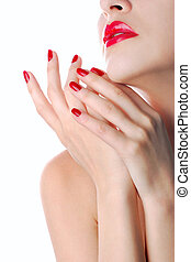 Red lips and manicure - Lady isolated over white