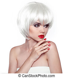 Red lips and manicured nails. Fashion Stylish Beauty Woman Portrait with White Short Hair. Vogue Style Woman. Hairstyle.