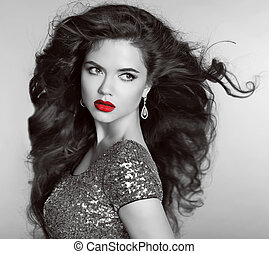 Red lips. Beautiful Retro woman portrait. Helthy long wavy...