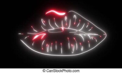 Red lips biting retro icon isolated on black background. ...