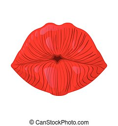 Red lips cartoon icon