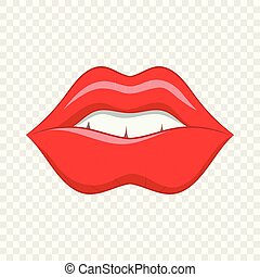 Red lips icon in cartoon style