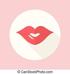 Red Lips Kiss Flat Icon