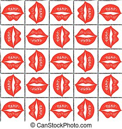 Red lips pattern.