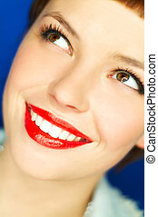 Red Lips - Portrait of beautiful young smiling woman with...