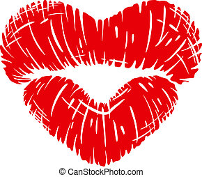 Red lips print in heart shape isolated on white background