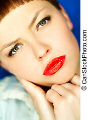Red Lips - Portrait of beautiful young woman with red...