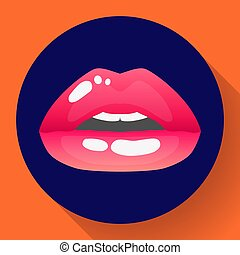 Red lips vector illustration of sexy womans lips of half-open mouth.