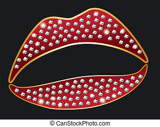 Red lips with diamonds