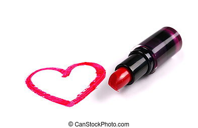Red lipstick and heart isolated on white background