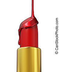 Red lipstick and nail polish on white background