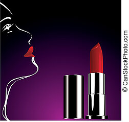 red lipstick - tube of red lipstick and woman silhouette on...