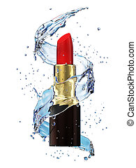 Red lipstick in water splash isolated on white background