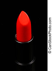 Red Lipstick Isolated On Black