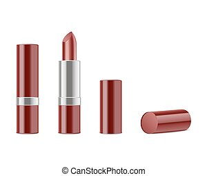 Red lipstick isolated on white background