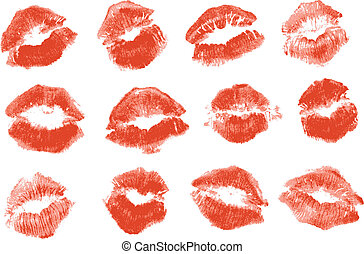 Red lipstick kiss. Isolated on white background, vector ...