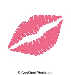 Red lipstick kiss on white background.