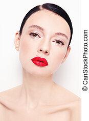 Red lipstick - Portrait of young beautiful stylish woman...