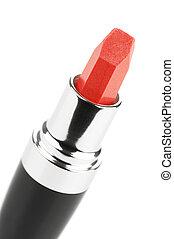Red shimmer lipstick on white background.