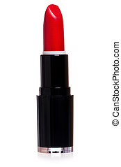 Red lipstick - Single red lipstick isolated on white...