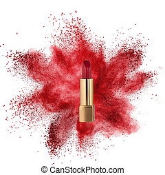 Red lipstick with powder explosion isolated on white