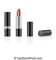 Red lipstick with reflection isolated on white background