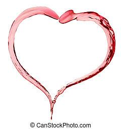 red liquid in shape of heart on white background