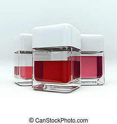 Red liquid - 3D rendering of 3 containers with red liquid