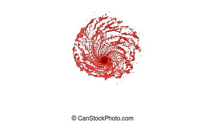 Red Liquid tornado. Beautiful colored red paint whirl. Isolated transparent vortex of liquid like whirlwind 3d animation with alpha matte. Version 4.
