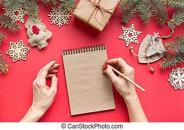 red., liste contrôle, vue., zéro, lay., plans, sommet, année, souhait, gaspillage, décor, liste, buts, year., 2020, plat, concept., bois, noël, nouveau