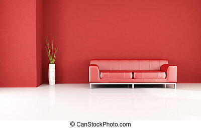 Red living room - red and white room with elegant leather...