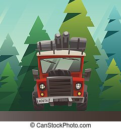 Red loaded truck ride through the summer forest