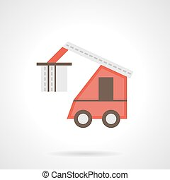 Red loading truck flat color vector icon
