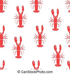 red lobster seamless pattern