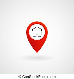 Red Location Icon for Hospital, Vector