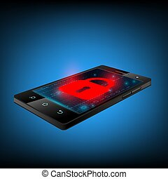 Red lock on the smartphone screen.