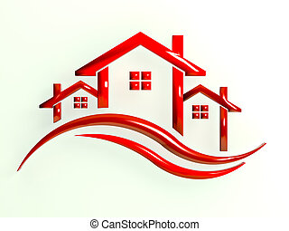 Red Logo Houses with waves