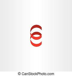 red logo letter e spiral icon vector ribbon