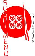 Red logo of the Japanese sushi restaurant isolated on white back