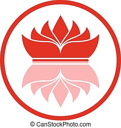 Red logo reflective crown in circle on white background.