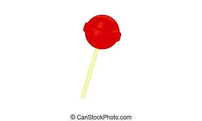 Red lollipop icon animation best object on white background