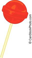 Red lollipop icon, cartoon style