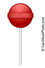 Red lollipop icon, realistic style
