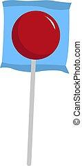 Red lollipop, illustration, vector on white background.