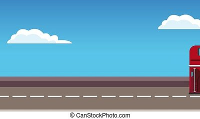 Red london bus HD animation - Red london bus on higway at...