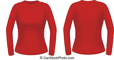 Red long sleeve female shirt